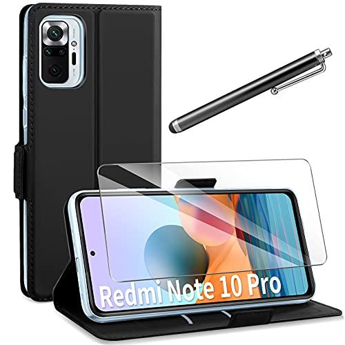 AROYI Funda Compatible con Xiaomi Redmi Note 10 Pro / 10 Pro MAX con Protector Pantalla, Carcasa Cuero Suave de la PU con Ranuras para Tarjetas Flip Funda Tipo Libro Magnético Case - Negro