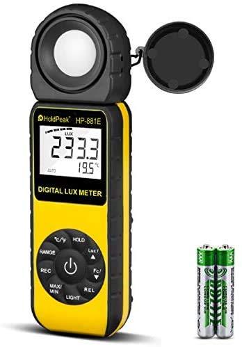 HoldPeak Medidor de Iluminancia HP-881E Iluminador Digital con Rangos de Medición de 0.01~300,000 Lux (0.01~30,000 FC) y Detector Giratorio de 270° para Luces LED y Medidor de Lumen para Plantas