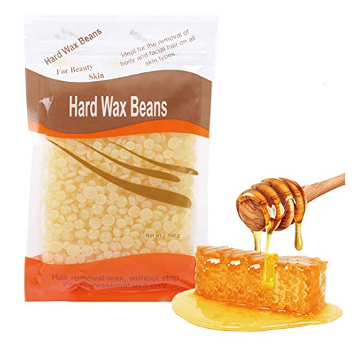Hard Wax Beans Beauty Salon Hair Remover Dedicated Pearl Shape Granules Hot Film Wax Beads for Legs, Underarms, Chest and Back Depilatory Set (Miel, 1pc)