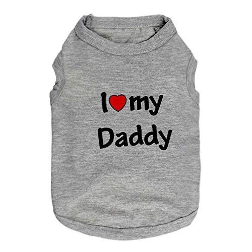 DroolingDog Dog Shirt Medium Dog Clothes I Love My Daddy Pattern Pet T Shirts for Medium Dogs, XL, Grey