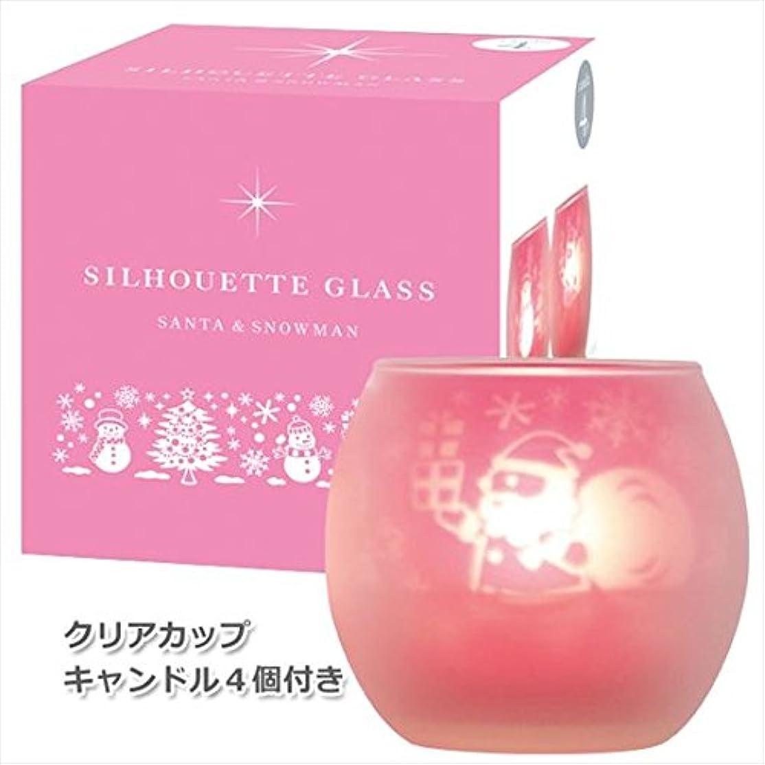 分オリエント困惑したカメヤマキャンドル(kameyama candle) サンタ&スノーマンシルエットグラス【キャンドル4個付き】