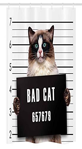 Ambesonne Cat Stall Shower Curtain, Bad Gang Cat in Jail Kitty Under Arrest Criminal Prisoner Hangover Work, Fabric Bathroom Decor Set with Hooks, 36' X 72', Brown Black