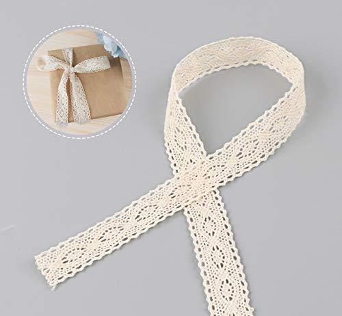 ABSOFINE 15M Vintage Spitzenband Borte aus Baumwolle Dekoband Zierband Spitzenstoff Spitzenborte für Nähen Handwerk Hochzeit Deko Scrapbooking Geschenkbox (Beige)
