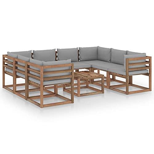 vidaXL Set di mobili da giardino, 9 pezzi, con cuscini grigi