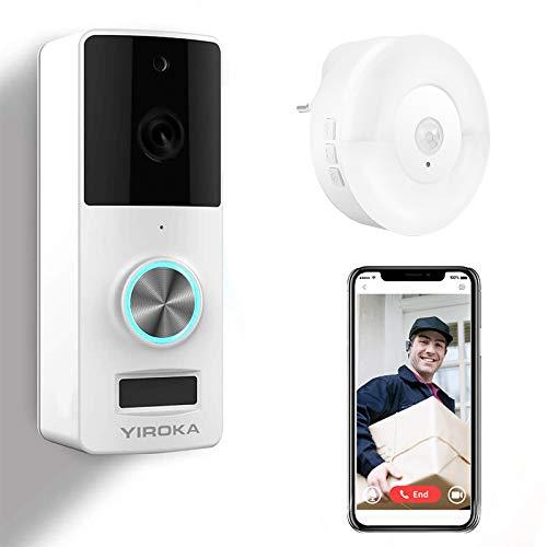 Timbre Inalámbrico con Camara, YIROKA HD 1080P Video Timbre WiFi Inteligente, Detección de Movimiento PIR, IP65 Impermeable, con Receptor de Luz Nocturna LED, Blanco