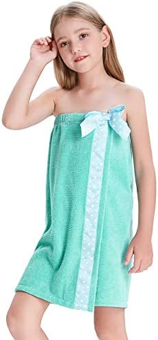 Big Girls Bath Terry Wrap Towel Adjustable Cover Up Bathrobes Blue Green 12 14Y product image