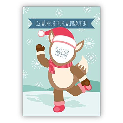 4 Retro Weihnachtskarten mit ihrem Foto als Weihnachts Fuchs mit ihrem eigenen Innen-Text - ohne unser Logo a.d. Rückseite • weihnachtliches Grußkarten zu Weihnachten, Neujahr