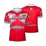 ZDVHM 2019 Tonga Home Court Jersey de Rugby Uniforme Manches Courtes 100% Polyester Tissu Respirant T-Shirt T-Shirt Chemise de Football pour Hommes Femmes (Color : 1, Size : S)