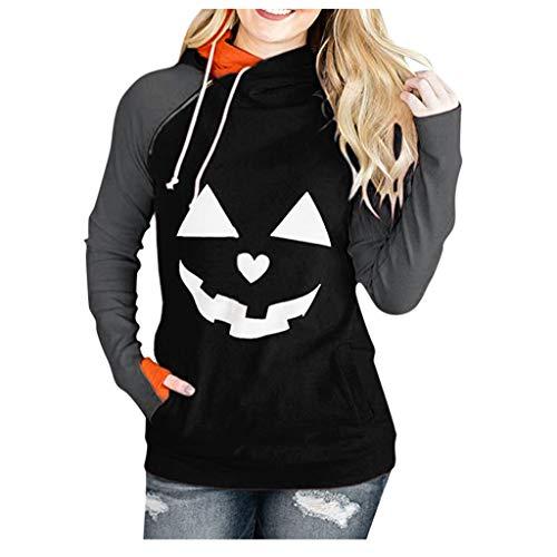 FEISI22 Womens Color Block Drawstring Top Pullover Long Sleeve Hoodies Coat Loose Casual Sweatshirts with Pocket Black