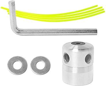 Poweka - Cabeza de desbrozadora de aluminio, cabeza de doble hilo, hilo de nailon para desbrozadora de gasolina y cortacésped