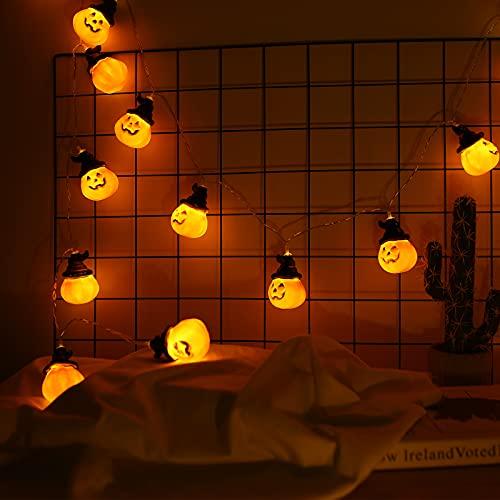 mreechan Stringa di zucca,Led Luci Stringa di Halloween,3M Halloween 20 LEDs Lanterna Zucca Stringa, Smiley Zucca Lanterna String Luci di Halloween, Festival Delle Decoration del Partito Famiglia.