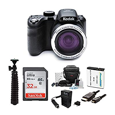 KODAK PIXPRO AZ421 Astro Zoom 16MP Digital Camera (Black) Bundle with 32GB SD Card, Replacement Lithium-Ion Battery and Charger, and Accessories (7 Items) from Kodak