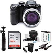 KODAK PIXPRO AZ421 Astro Zoom 16MP Digital Camera (Black) Bundle with 32GB SD Card, Replacement Lithium-Ion Battery and Charger, and Accessories (7 Items)