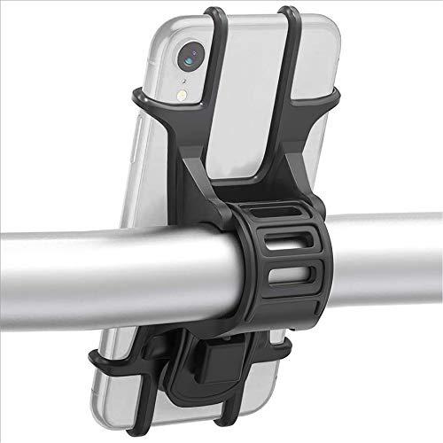 ISIYINER Fahrrad Handyhalterung Universal Silikon Telefonhalter für iPhone Samsung Huawei Smartphones mit der Bildschirmgröße von 4.5-7.0 Zoll Ideal für Mountainbike Rennrad & Motorrad (Schwarz)