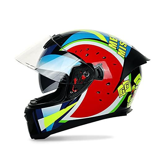 Bluetooth Integrado Casco de Moto Modular con Anti Niebla Visera Doble Cascos de Motocicleta para Adultos Hombres Mujeres DOT/ECE Homologado F,L=59~60CM