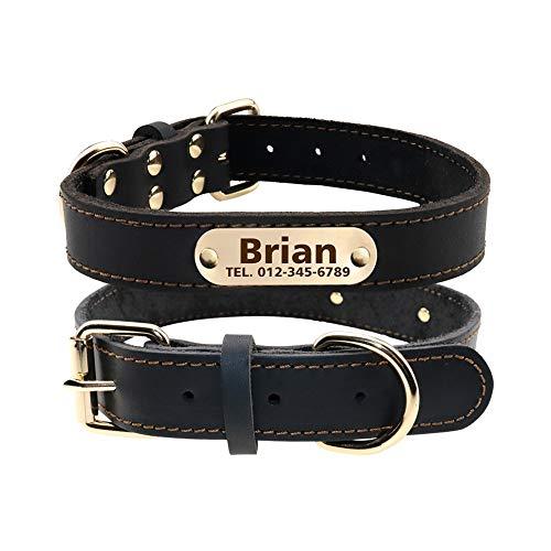 TagME Personalisierte Hundehalsbänder aus Leder mit Eingraviertem Namen und Telefonnummer/Hundehalsbänder aus Echtem Leder für Kleine Hunde/ Schwarz
