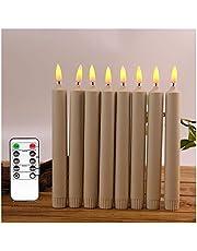 Flameless Candles Pack med 6 LED-ljus Ljus med fjärrflickning Moving Wick - Batteridriven ljusstakar - 10 tum eller 8 tums plastgul eller vit