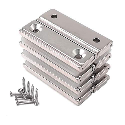 Magnetpro 8 imanes rectangulares 20 kg fuerza 40 x 13,5 x 5 mm con orificio avellanado y cápsula, imán en recipiente de neodimio industrial y doméstico con tornillos