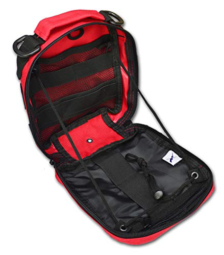Lightning X Products Premium Nylon MOLLE Pouch Emergency Bag, Ideal for Tactical Medics, Military, Outdoor Enthusiasts (8' x 6.5' x 3', Black or Tan, Designed for Your IFAK Gear) (Red)
