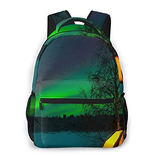LUDOAN Zaino per laptop da viaggio,tenda da campeggio dell'aurora boreale sotto il campo magnetico Immagine della natura,zainetto antifurto resistente all'acqua da lavoro Slim durevole
