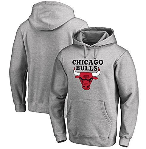FFLL Sudadera con Capucha De Los Hombres De Los Hombres NBA Chicago Bulls Sudadera,Gris,3XL