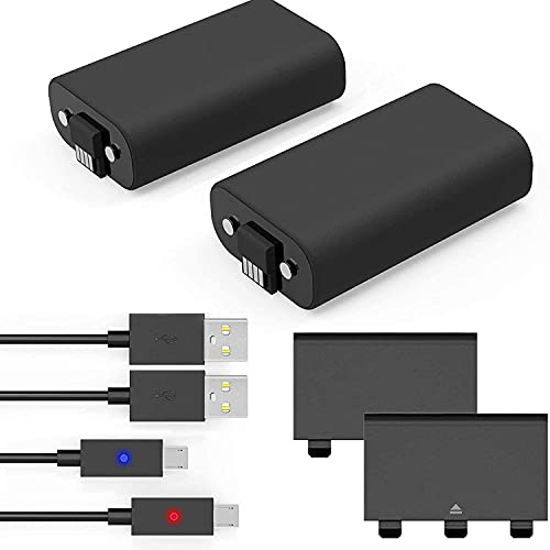 Xbox One Controller Battery Pack, Xbox Rechargeable Battery Pack with 2 Pack 1200mAh, Xbox Battery Pack with LED Indicator/ 5FT Micro USB Charging Cable, Xbox One Charge and Play for Xbox One X/S
