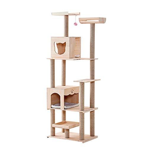 Heqianqian, telaio in legno massiccio per gatti, tiragraffi, tiragraffi per gatti, gatti, piattaforma di salto per gatti, Legno, Beige, 60X40X158CM