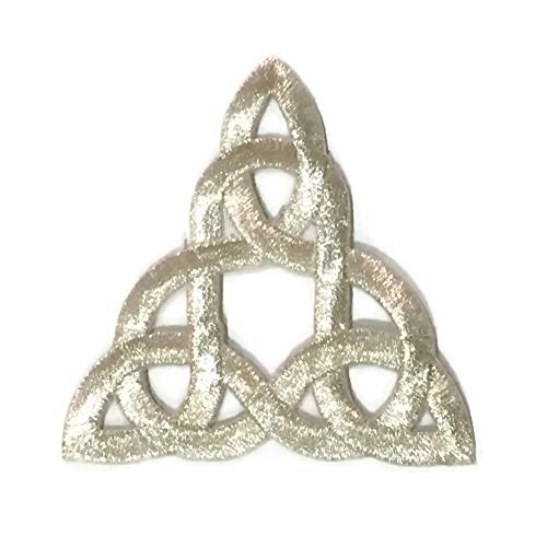 Patch Portal Silver Celtic Knot 3 Inches Irish Tattoo Pattern DIY Embroidered Applique Trinity Stencil Triquetra Gothic Sew Iron on Patches for Jackets Hats Cloth