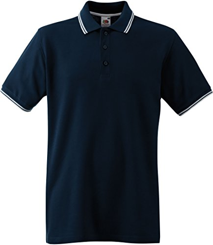 Fruit of the Loom Herren Tipped Polo Poloshirt, Blau (Deep Navy/White 203), Large