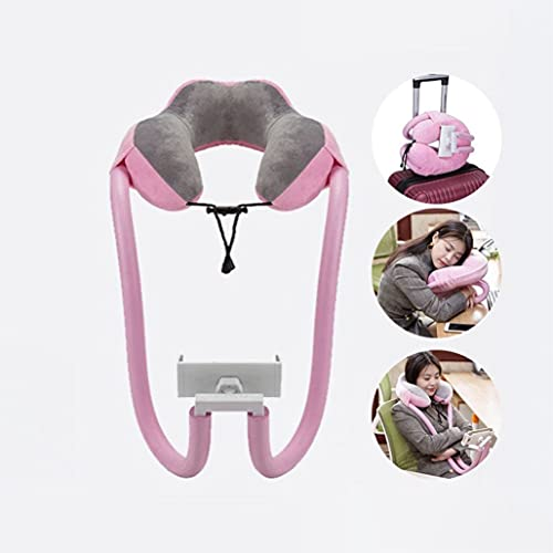 Giftik Gooseneck Neck Pillow Phone Holder,,U Shaped Lazy Long Arm Bed Stand Flexible Mobile Mount with 360 Clip Compatible with Smartphone Tablet,Suitable for Home Office Travel Sofa Bed (Pink)
