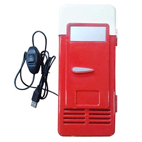 ASOSMOS Mini USB Kühlschrank Gefrierschrank Getränk Bier Kühler Kühlschrank für Reise Auto Büro - Rot