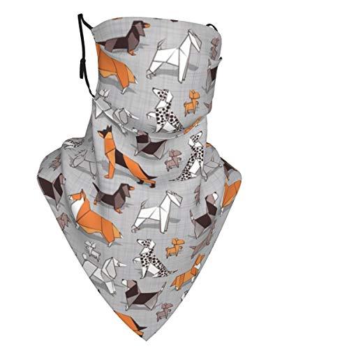 Pasamontañas multifuncional para el cuello, transpirable, pasamontañas, para hombres, mujeres, bufanda de cuello para actividades al aire libre (Origami Doggie Friends Linen)