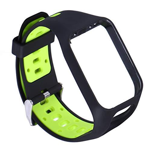 Hemobllo - Correa de silicona con cierre rápido, accesorio de repuesto, compatible con Tomtom Spark Runner 2/3 (negro y verde)