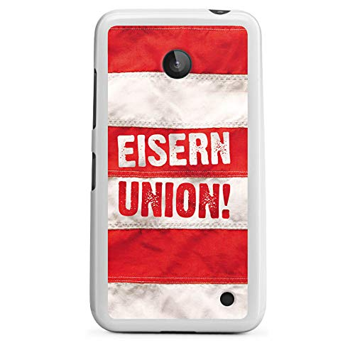 DeinDesign Silikon Hülle kompatibel mit Nokia Lumia 630 Dual SIM Hülle weiß Handyhülle 1. FC Union Berlin Offizielles Lizenzprodukt Eisern