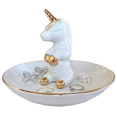 PUDDING CABIN Unicorn Ring Holder Trinket Dish Jewelry Tray For Wedding Birthday Xmas Gift