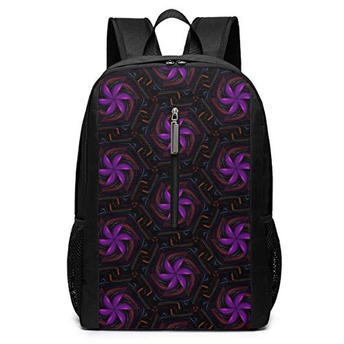 School Travel Business Bag Laptop BackpackAbstract Kaleidoscope Purple Windmill Casual Backpack Shoulder Rucksack Bag for Womens Mens Youth 17'