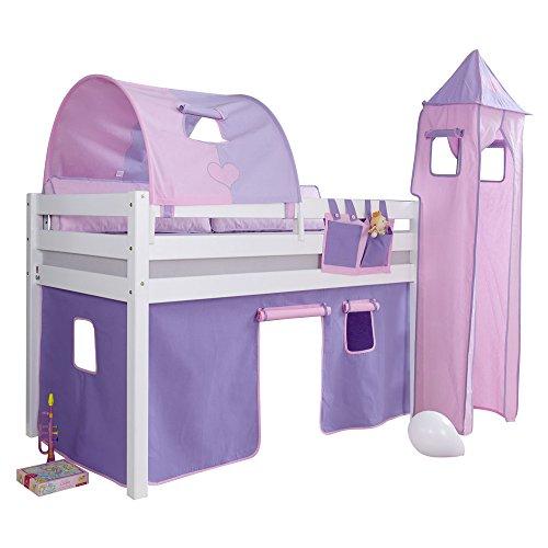 Relita Halbhohes Spielbett Alex mit Vorhang, 1-er Tunnel, Turm und Tasche, Buche massiv, weiß lackiert
