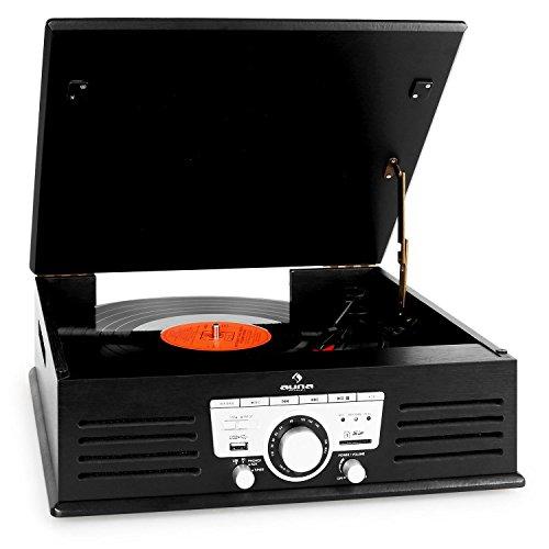 auna TT-92B tocadiscos (USB, SD/MMC, MP3, AUX, altavoces estéreo, reproductor multimedia de vinilos con función de grabación, radio) - negro
