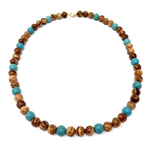 Halskette mit Perlen aus echten Olivenholz natur und eingefärbt türkisblau handgemacht auf Mallorca Holzschmuck