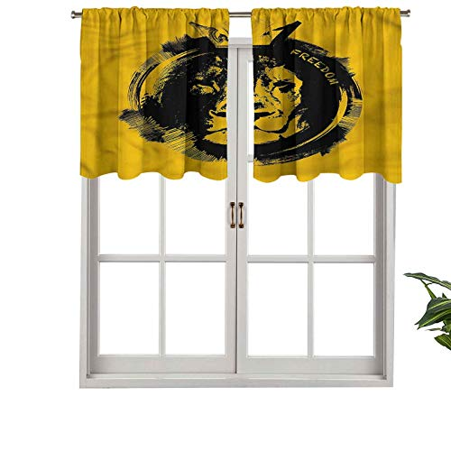 Hiiiman Sunshine Blockout Valance Curtain Grunge Style Freedom Quote, Set of 2, 54'x24' for Indoor Living Dining Room