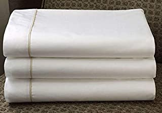 Westin Ultra Luxe Middle Sheet - Soft, Luxurious 600 Thread Count Cotton Flat Sheet - White with Taupe Trim - Queen (92