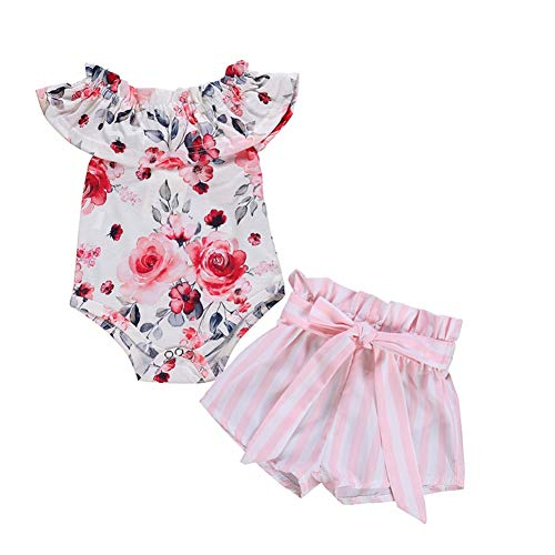 BAOBAOLAI Roupas para bebês meninas recém-nascidas estampa floral babados blusas rosa listras shorts roupa