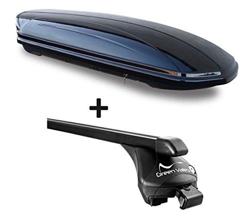 VDP Dachbox schwarz glänzend MAA 580 Auto Dachkoffer 580 Liter abschließbar + Relingträger Dachgepäckträger aufliegende Reling im Set kompatibel mit Porsche Macan ab 2015 bis