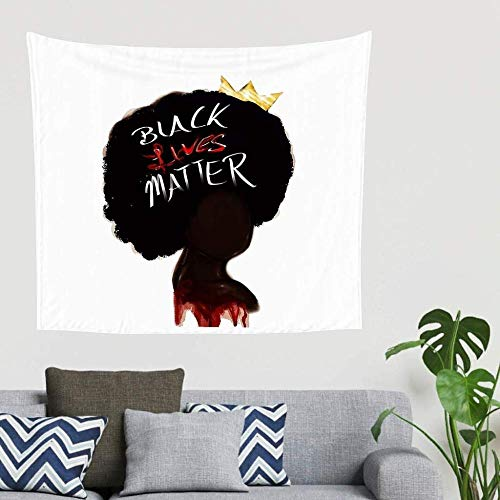 BOIPEEI Afro Girl Crown Black Lives Matter Print Tapiz para Colgar en la Pared Manta de Pared Toallas de Playa abstractas Decoración de Fondo de Fiesta Blanco 150cm X 200 Cm