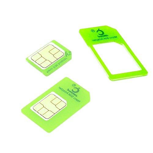 Cismax HD即日出荷 落下防止機能付Nano SIM MicroSIM 変換アダプター 4点セット グリーン For iPhone6S 6 6plus 5S 5C 4S 4 3GS 3用STD For xperia スマホ 拡張 便利 micro 全部入り 交換 代替 (Clear Green あかるい緑色) CGr4