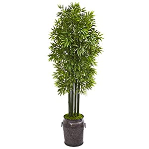 Nearly Natural 6' Bamboo Artificial Black Trunks in Planter UV Resistant (Indoor/Outdoor) Silk Trees, Green
