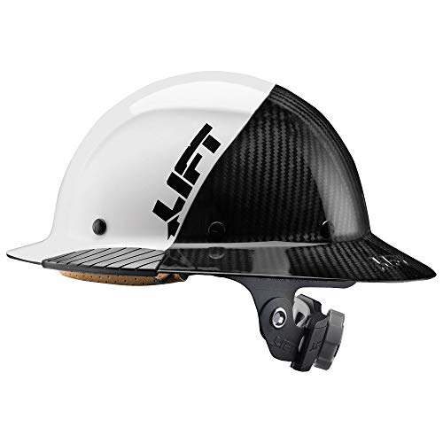 LIFT Safety - HDF50C-19WC Lift Safety DAX Fifty 50 Carbon Fiber Full Brim Hardhat (White)