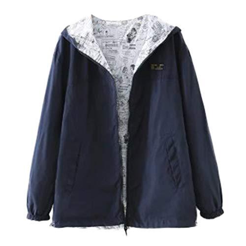 KPILP Womens Herbst Winter Jacke Windbreaker Leichte Atmungsaktiv Outdoorjacke Kapuze Sweatjacke Pullover Mode Druck Streetwear Outwear Sportjacke