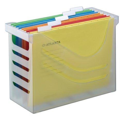 Jalema Es 2658026000- Silky Touch Carpeta Clasificadora, Archivador, Caja archivadora de oficina y casa con 5 carpetas colgantes A4, surtidos, color Transparente