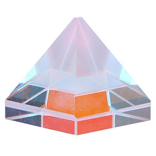 Prisma de vidrio óptico, Akozon lente de vidrio óptico en forma de pirámide Prisma de color para decoración de investigación y física(Talla 3)